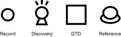 記録,発見,GTD,参照のアイコン