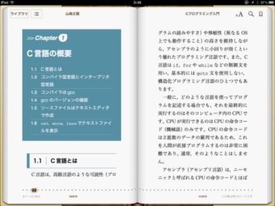 iPadでコンテンツを表示したところ。コンテンツの再現性もさることながら,見開きで表示されるiPadは見みすい