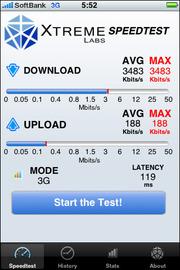 図2(左) 通信速度を計測するアプリ「Speedtest」