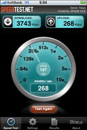 図2(右) 通信速度を計測するアプリ「Speedtest.net」