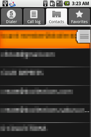 Contacts画面。ケータイの電話帳アプリのような作り。