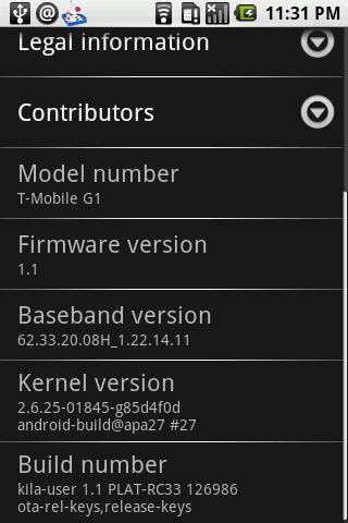 新バージョンのファームウェアを適用した後。Firmware versionが1.1と表示される。