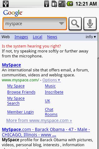 Google Voice Searchで検索したところ。検索結果は,ブラウザに表示される。