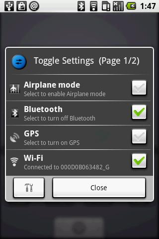 Toggle Settingsを使えば,メニューを辿ることなくBluetoothのオン/オフが行える。