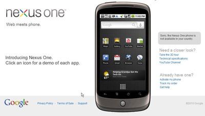 図1 Nexus Oneのホームページ。2010年1月12日時点では,米国,英国,香港,シンガポールのユーザが購入できる。