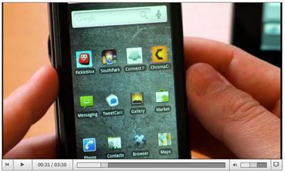 図2 モバイル版Adobe AIRのデモビデオ。デモにはDroidが使われているがもたつく様子もなく動作している。