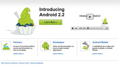 Android.comでは、ビデオでAndroid 2.2の特徴を知ることができる。しかし、緑のFroyoは気持ち悪くて食べられませんね(笑)