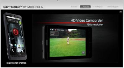 motorola.comで,ロケーションをUSAに変更するとDROID Xのスペックやビデオを見ることができる。