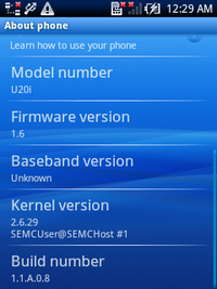 Xperia X10 mini proのモデルナンバーは,U20iとなっている。