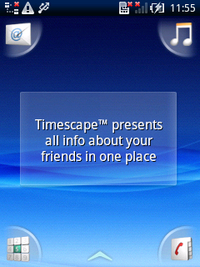 Timescapeウィジェットを表示したホーム画面。独特の雰囲気を持っている。