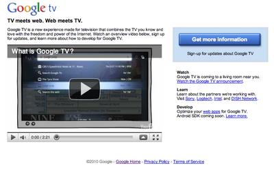 Google TVのホームページ。情報はほとんど公開されてないので,これからに期待。