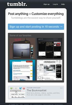 Tumblrトップページ。ユーザーのページの中でスタッフおすすめのものが表示されている