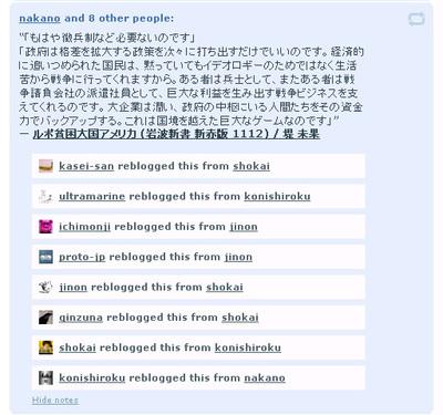 図4 たくさんの人にReBlogされたPostの場合,リストを表示できる