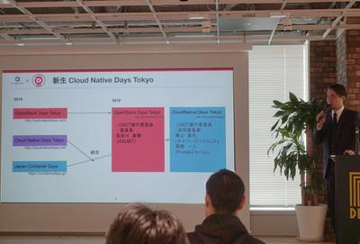 5/29に行われた説明会にて「OpenStack Days Tokyo」「CloudNative Days Tokyo」そして「Japan Container Days」の関係を紹介するOpenStack Days Tokyo 2019実行委員長 長谷川章博氏