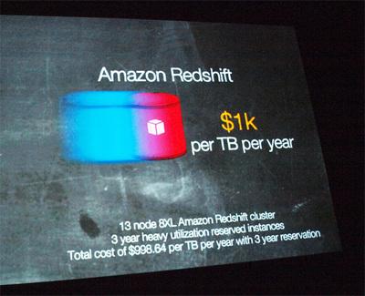 AWSが発表したRedshiftは「1テラバイトあたり1000ドル」という破壊的な価格を発表し,世間を驚かせた