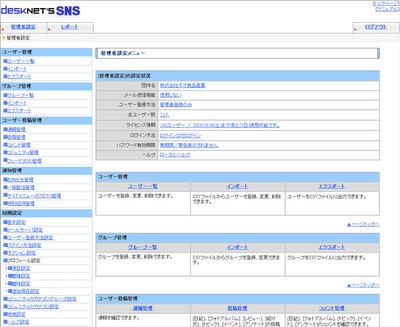 desknet's SNS管理者トップ画面