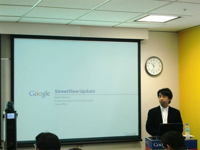 ストリートビューアップデートについて説明するグーグル河合敬一氏