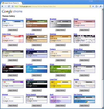 GoogleのChromeサイトに多くのテーマが用意されている。