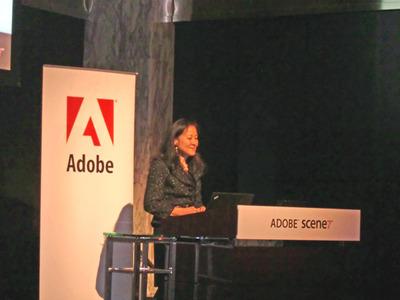 Adobe Scene7のアジア太平洋地域への展開を発表する,Scene7 Media Solutions Senior Director of Product Marketing, Sheila Dahlgren氏。