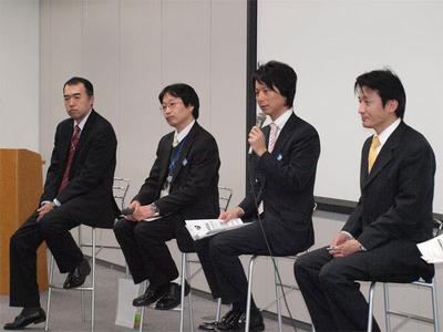 左から日立システムアンドサービス 市村氏,久保田氏,真島氏,武田氏