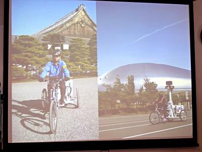 世界遺産など,車が進入できない場所は「トライク」と呼ばれる三輪自転車を使用して撮影している。