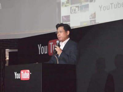 今回のパートナーシップ締結について説明するYouTubeコンテンツパートナーシップ統括部長 水野有平氏