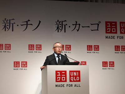 「これからは,MADE FOR ALLの服づくりを行い,UNIQLOOKSでは,世界最大の企業オンラインファッションコミュニティを目指す」と力強くコメントした柳井会長