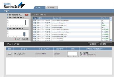 ブラウザで表示された動作状況の確認画面