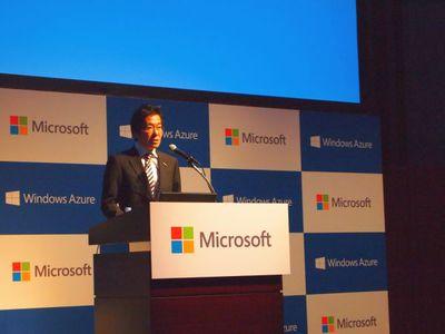 この2月で日本マイクロソフトになって3周年を迎え,さらなる発展を目指していきたいと述べた,日本マイクロソフト株式会社代表執行役社長 樋口泰行氏。「年々ビジネスが拡大しているクラウド市場に向けて,より高品質なサービスを提供していける」と,今回の発表に対しての意気込みを述べた