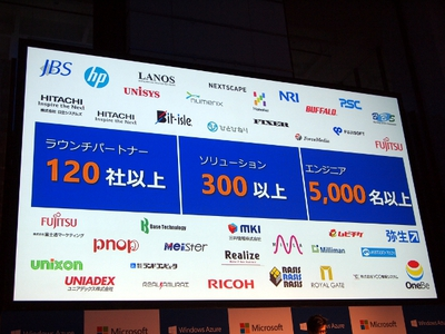 Windows Azureには,ラウンチパートナー120社以上,ソリューション300以上,エンジニア5,000名以上が関わっている