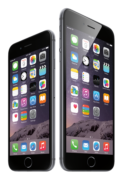 iPhone 6(左)とiPhone 6 Plus(右)