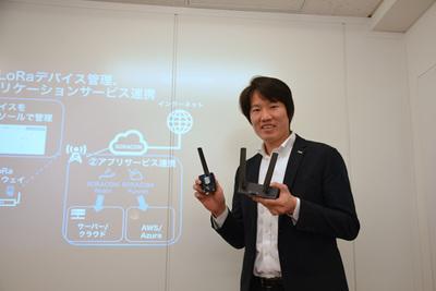 LoRaWAN機器を手に説明を行う(株)ソラコム代表取締役社長 玉川憲氏