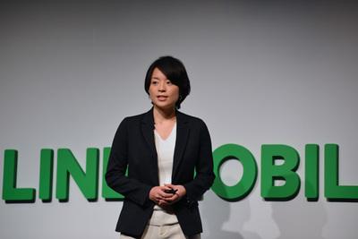発表を行うLINEモバイル(株)代表取締役社長 嘉戸彩乃氏