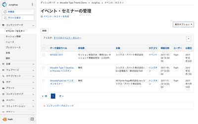 コンテンツタイプの管理画面例