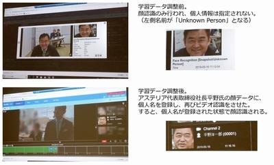 発表会会場となったアステリア本社の入口のカメラと連動したデモンストレーションが行われた。接続するだけで顔を認識し登録され,さらに個別情報を登録することで,その後の画像認識や分析につなげていくことができる。その他,学習用データの登録から,その後の学習へつなげていくことも可能