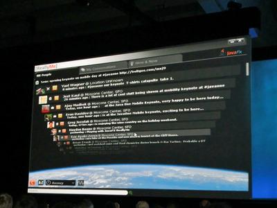 写真3 JavaFX Mobile上のTwitterクライアントから,実際に音声通話が行われていました