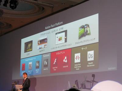 写真2 Adobe Flash Platformを説明するケビン・リンチ氏