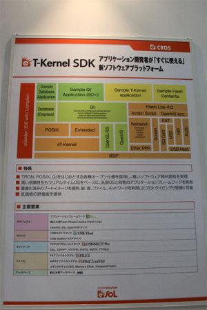 eT-Kernel SDKの説明パネル。GUIを含むアプリケーションの開発に必要なライブラリ,スタック,ミドルウェアはほぼそろっている