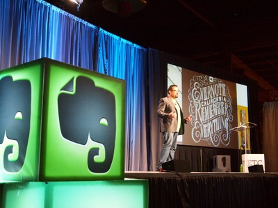 足元にはEvernote Business Socksも履いていた,Evernote CEO,Phil Libin氏