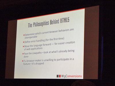 冒頭でまず,HTML5の哲学について説明した
