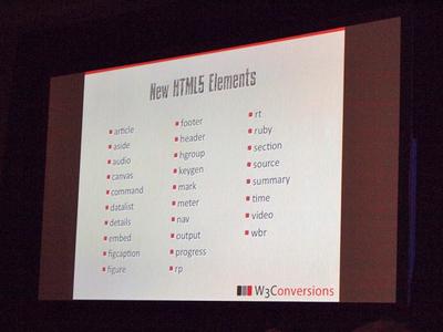 HTML5の28の新しい要素