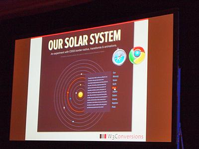 Google Chromeで見た太陽系のアニメーション