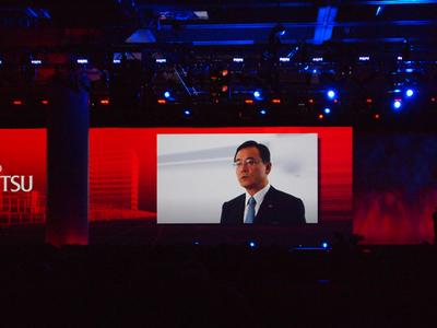 ビデオメッセージで登場した富士通株式会社執行役員社長 山本正己氏。