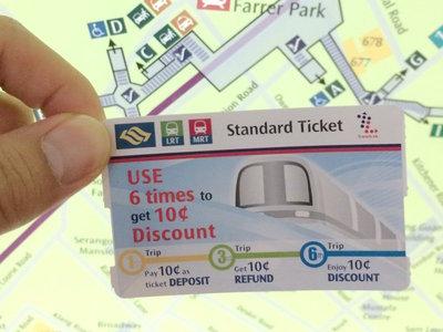 写真1 MRTのチケット。ペラペラの紙に電子タグが入っています