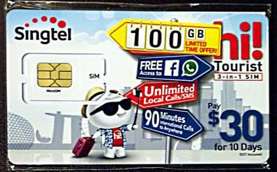 写真2 SingTelのSIMカード