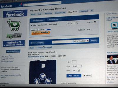 Facebook上で見たPayvmentの決済画面。ユーザ自身は(操作上は)Facebook内で完結した形で決済を完了できる