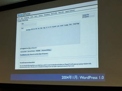 2004年1月にリリースされたWordPress 1.0の管理画面