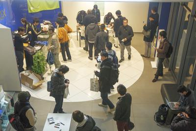 MOTEXホールエントランス。開場時から多数の参加者が集まった