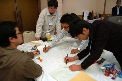 Myersの三角形を題材にしたテスト設計を,マインドマップを用いて行うグループ実習