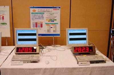 Express5800シリーズ/iモデル(左)消費電力デモの様子